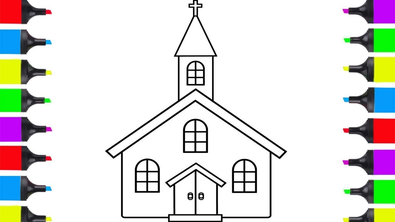 How To Draw Church Simple