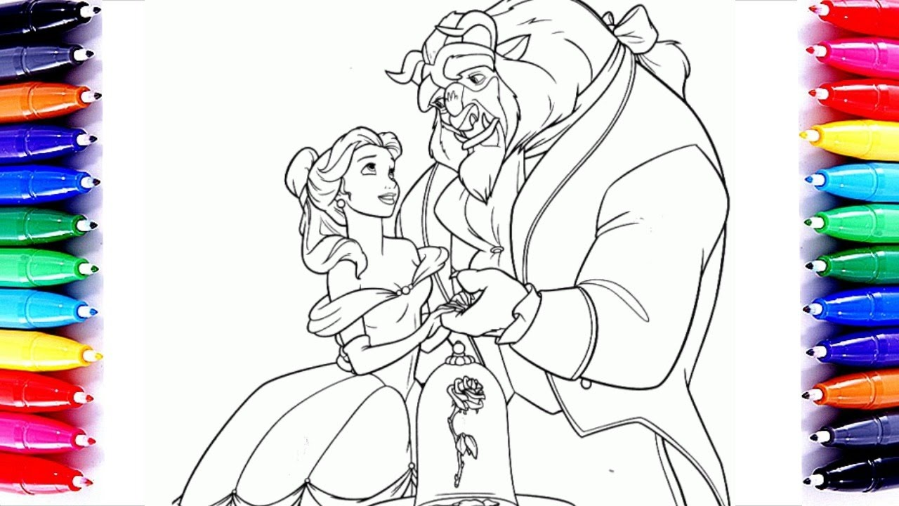 Disney Princess Beauty And The Beast Coloring Book Pages Sparkling