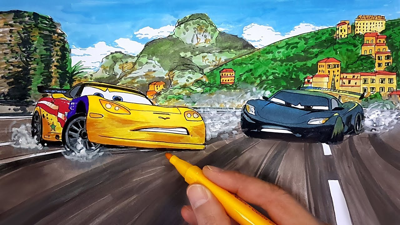 Draw Cars 2 Racers Jeff Gorvette And Lewis Hamilton Skidding To A