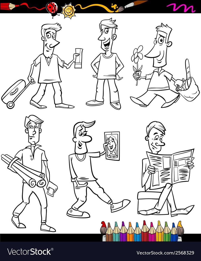 Men Set Cartoon Coloring Book Royalty Free Vector Image