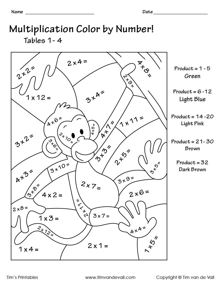 Printable Color By Number Multiplication Worksheets Pdf – Tim's