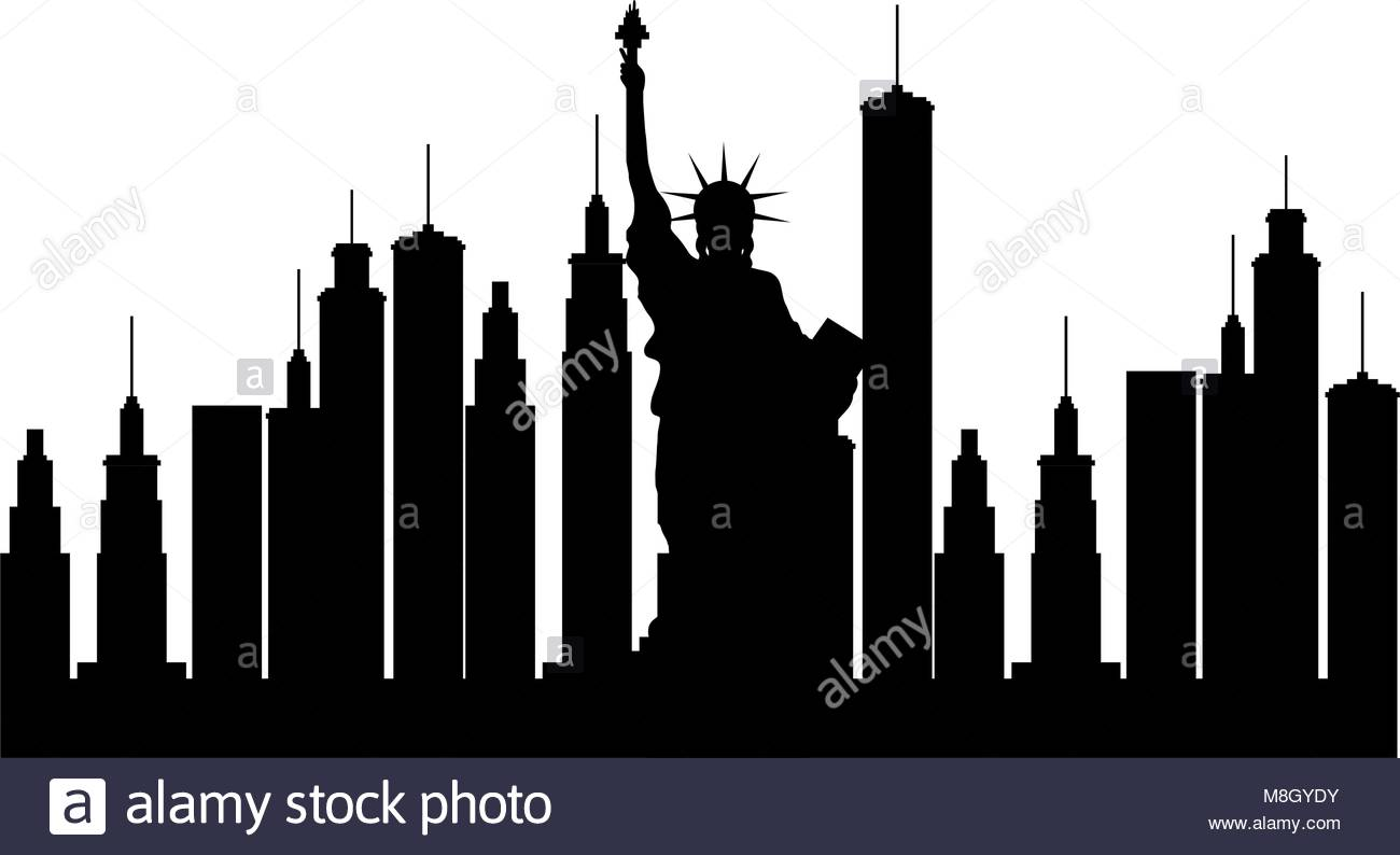 New York City Silhouette Vector Illustration Design Stock Vector