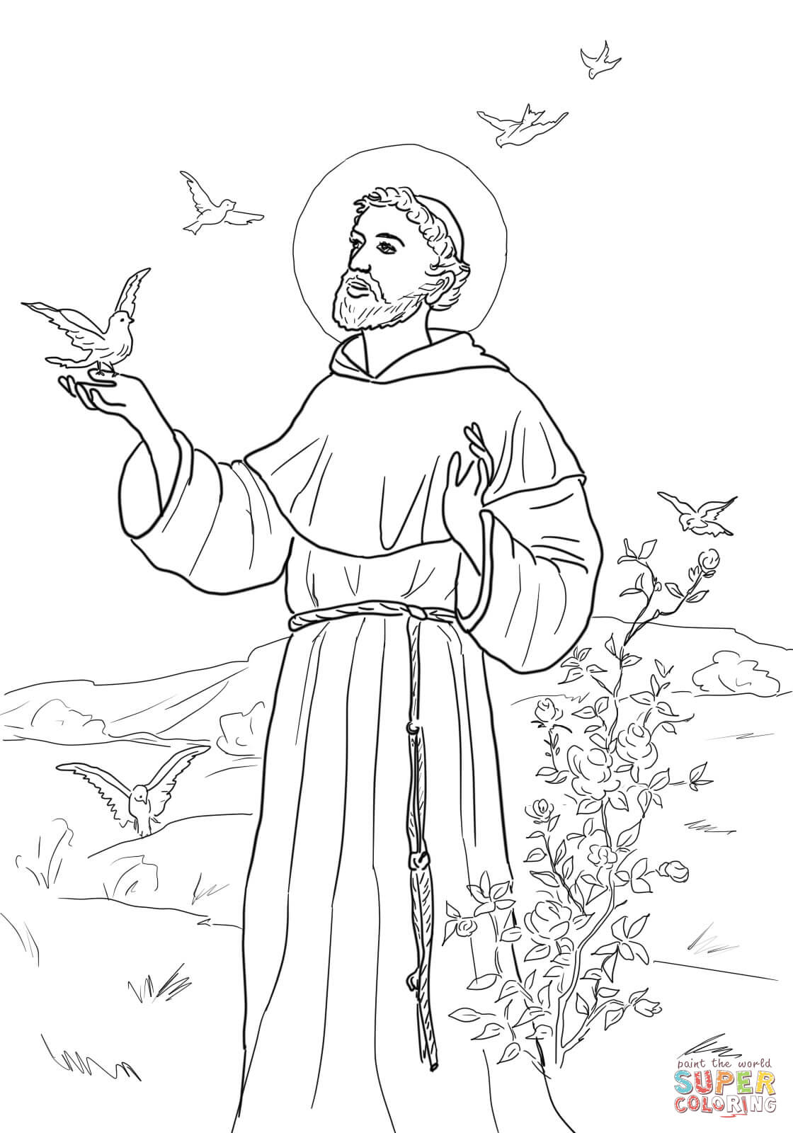 Peace Prayer Of St  Francis Coloring Page
