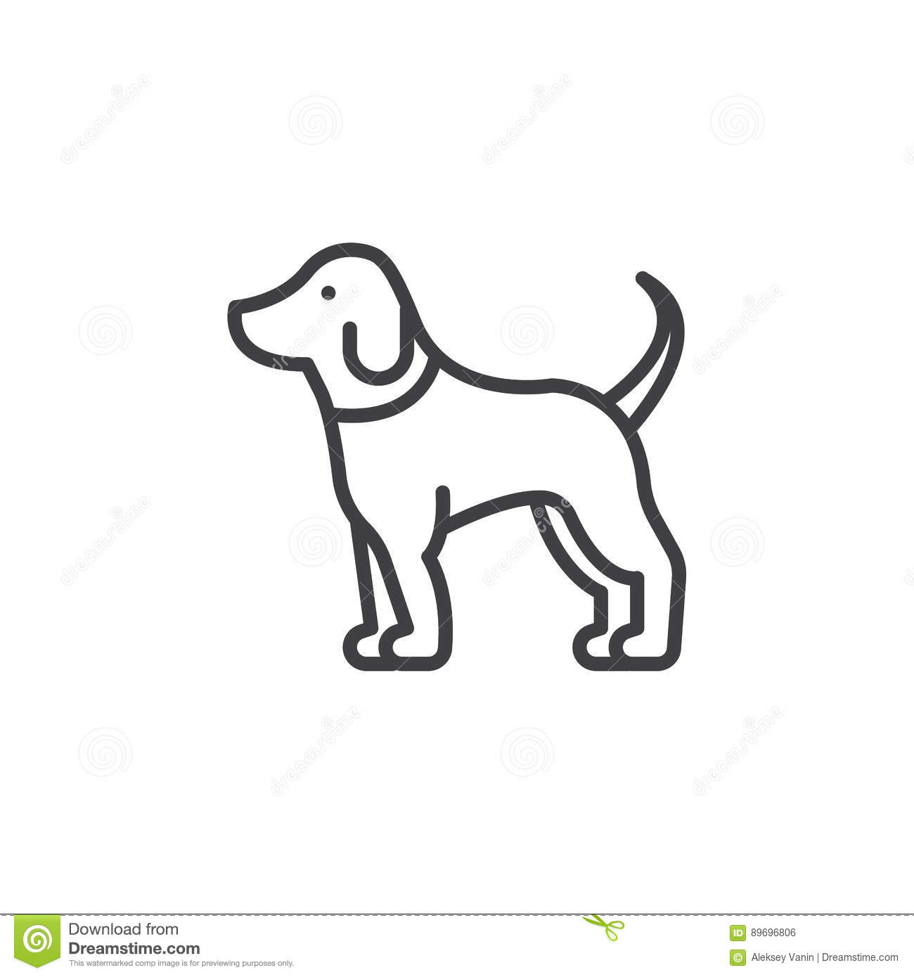 Pet Dog Line Icon, Outline Vector Sign Stock Vector