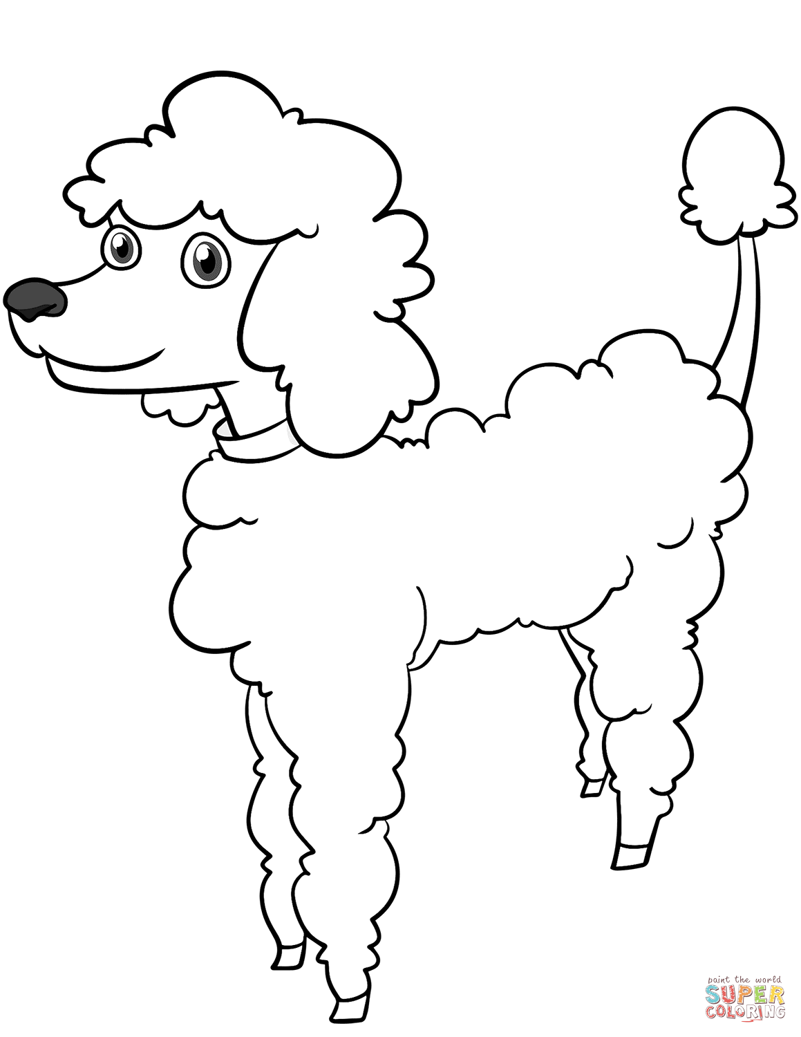 Poodle Coloring Pages Cartoon Page Free Printable 1159×1500