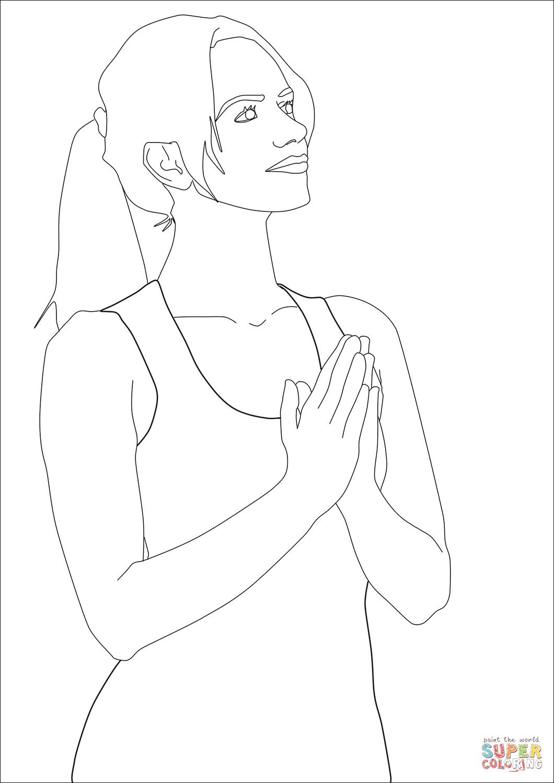 Dibujo De Mujer Orando Para Colorear