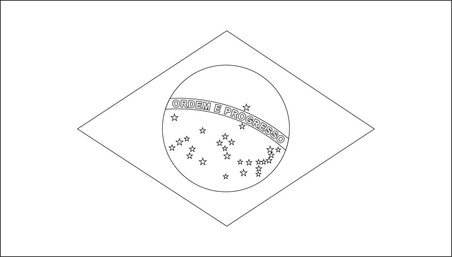 Printable Brazil Flag Coloring Worksheet