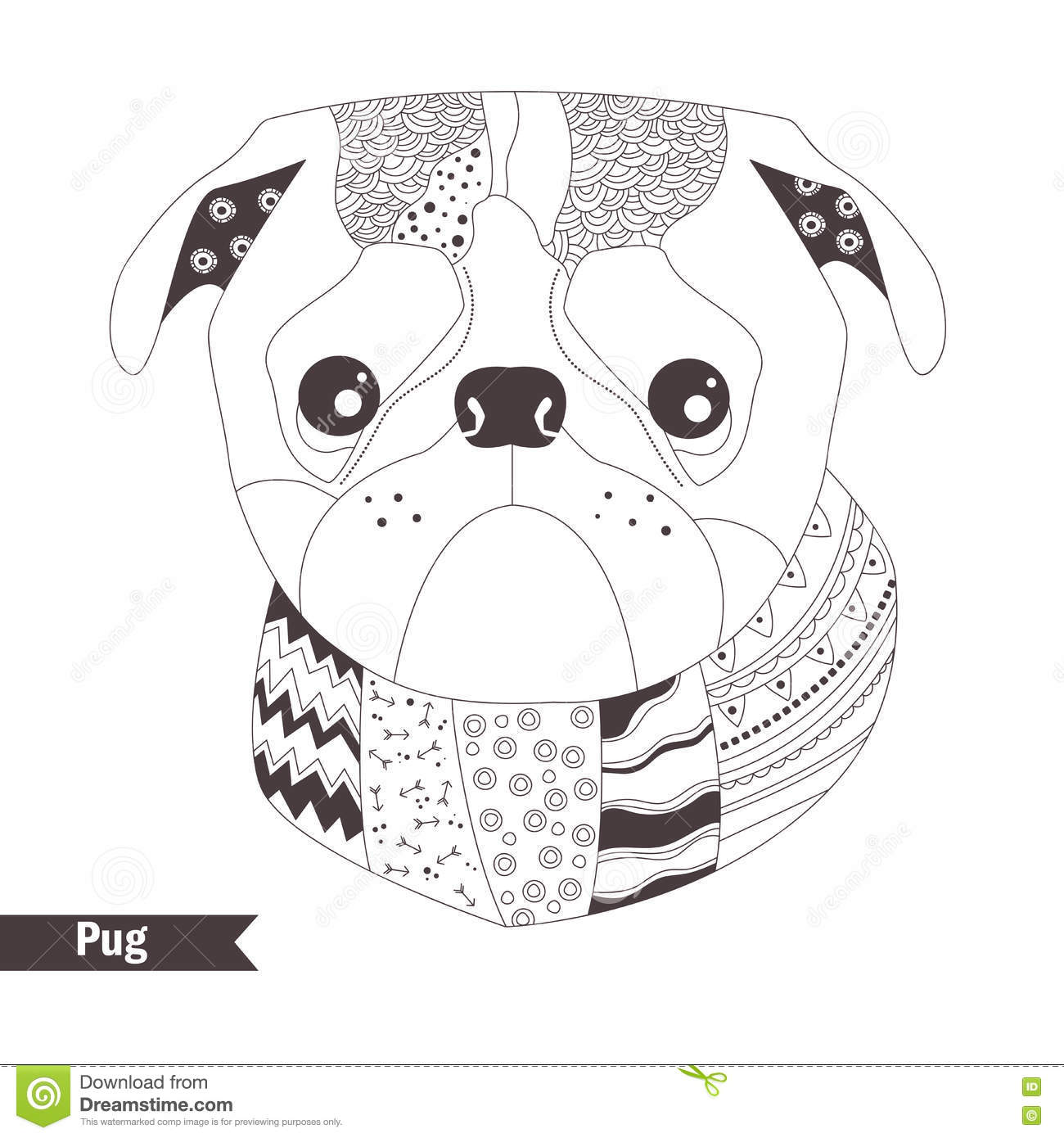 Pug  Coloring Book Stock Vector  Illustration Of Isolated