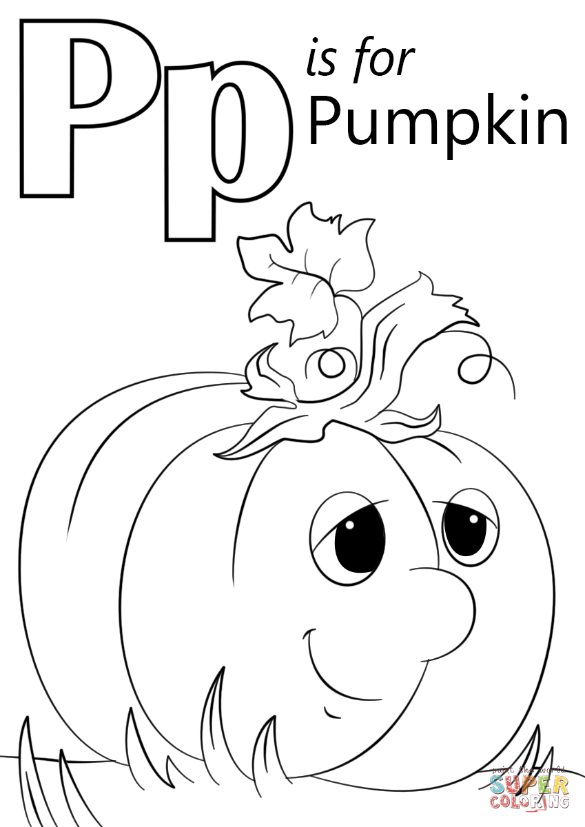 Pumpkin Coloring Pages Printable Letter P Is For Page Free 849