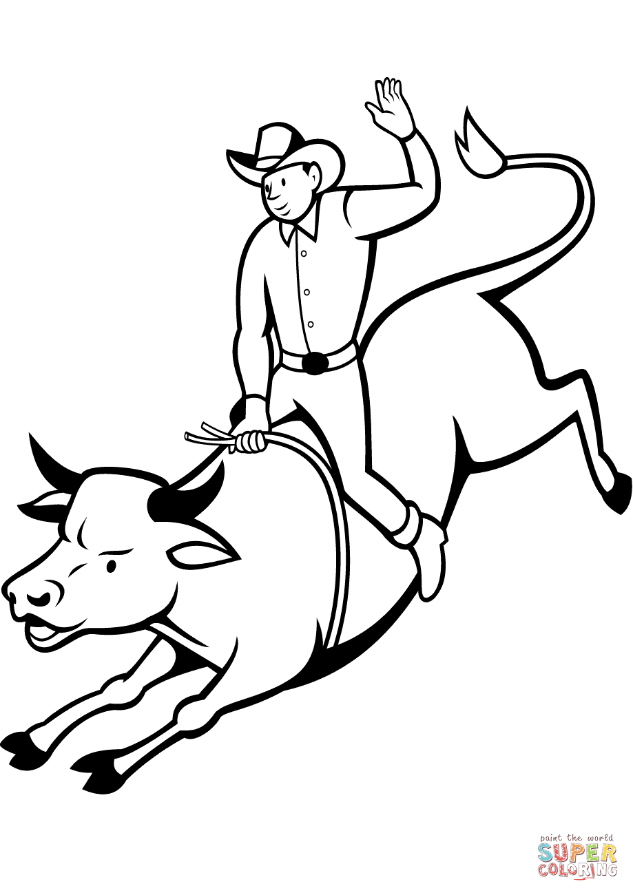 Rodeo Bull Rider Coloring Page