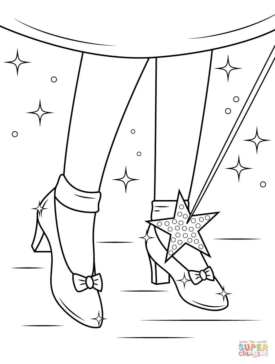 Ruby Shoes Coloring Page