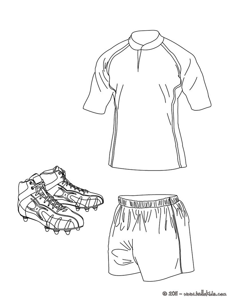 Rugby Shirt, Shorts And Shoes Coloring Pages