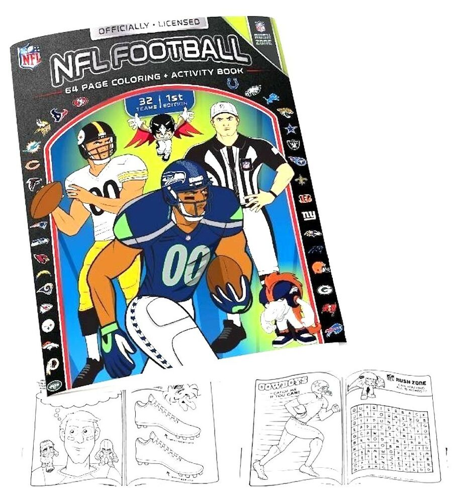 Nfl Coloring Book And Activity Book 64 Pages Black White Great