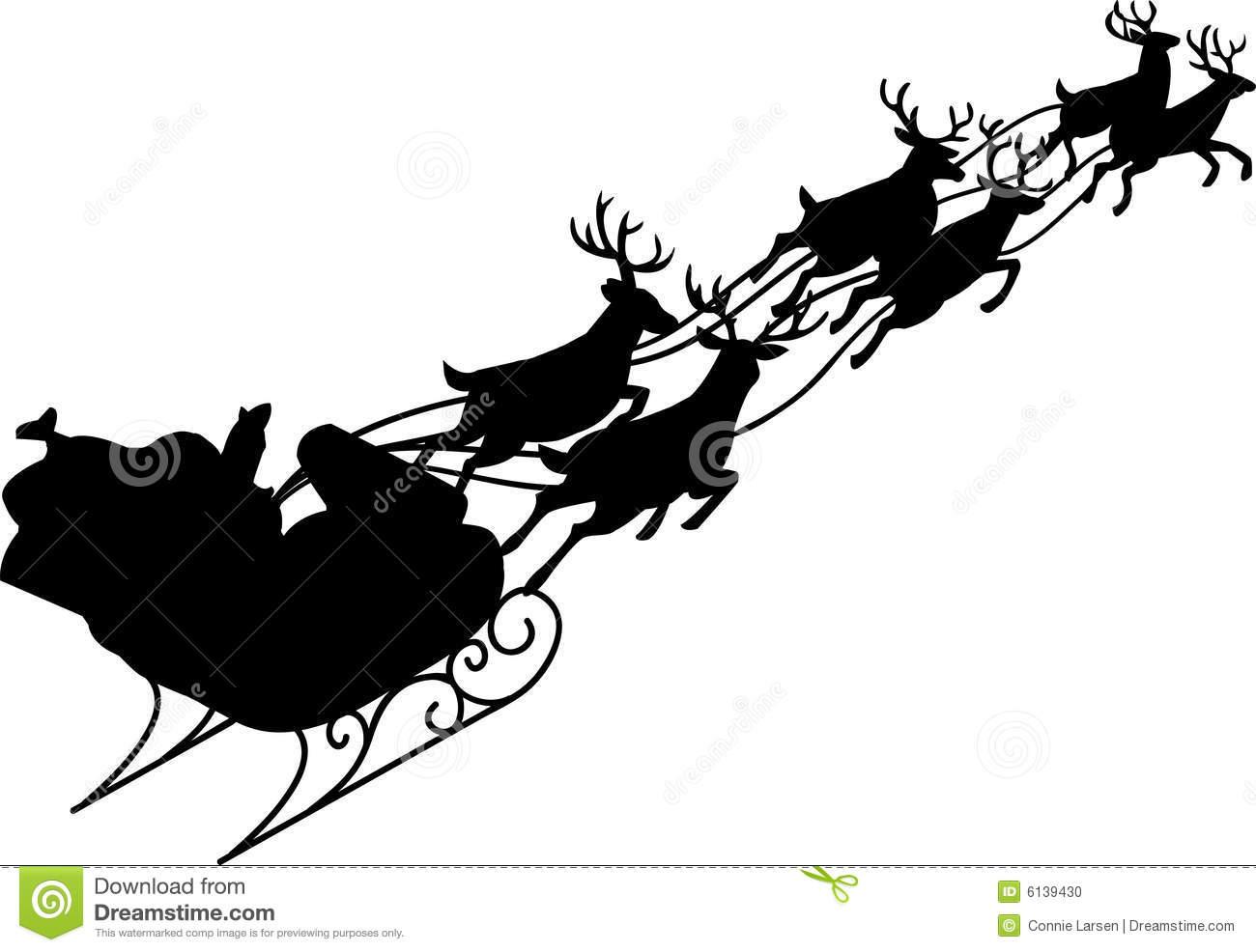 Santa Claus & Reindeer Sleigh Stock Vector