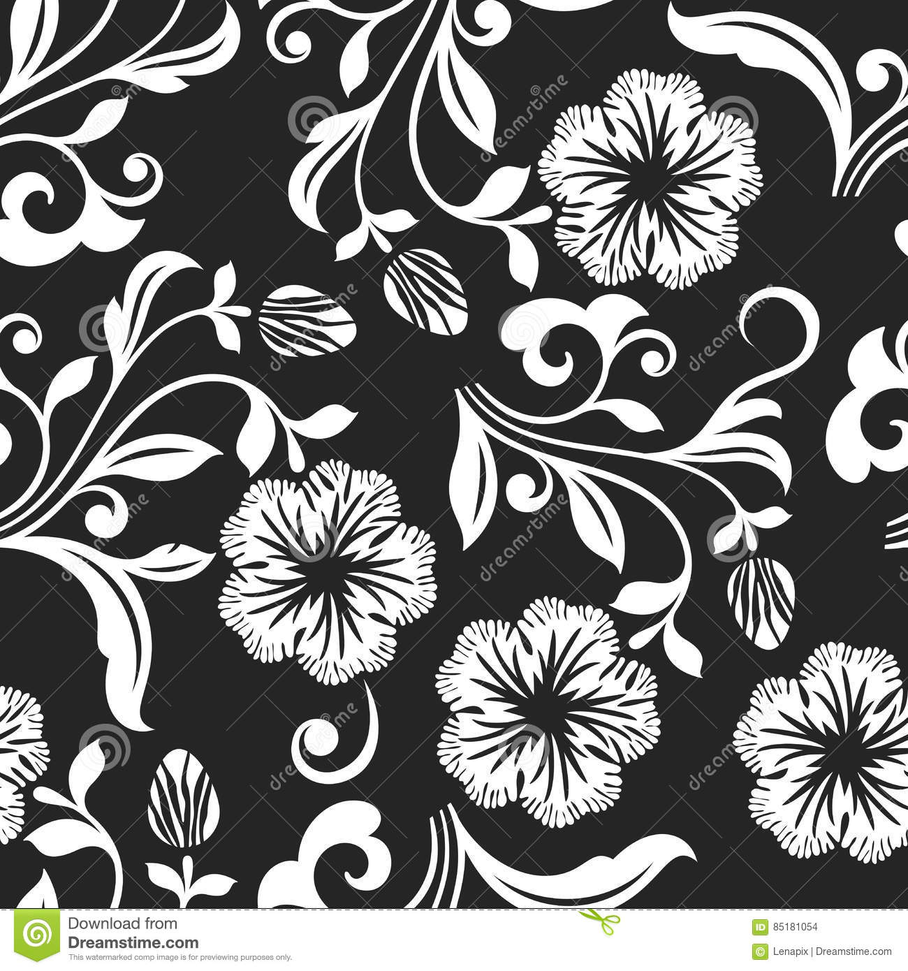 Seamless Black And White Flower Background  Stock Vector