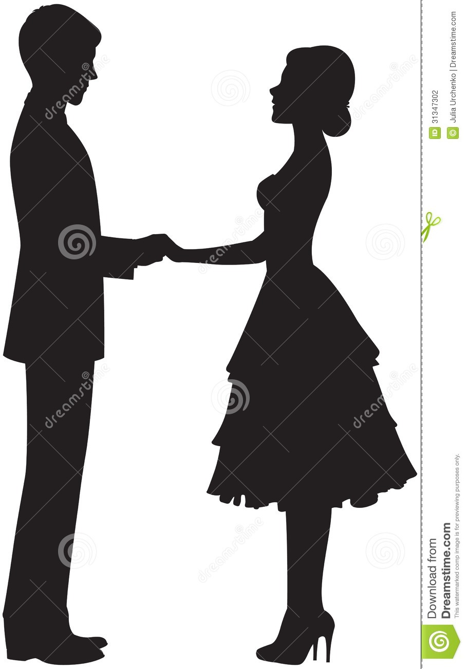 Silhouette Of A Couple Holding Hands Stock Vector