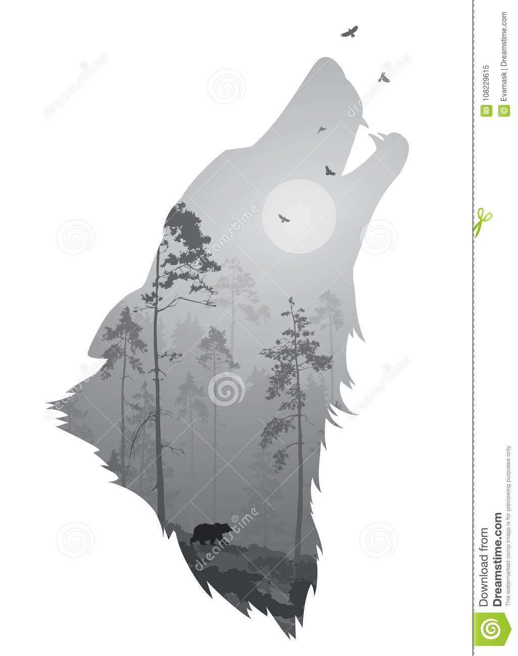 Wolf Head Stock Vector  Illustration Of Tree, Branches