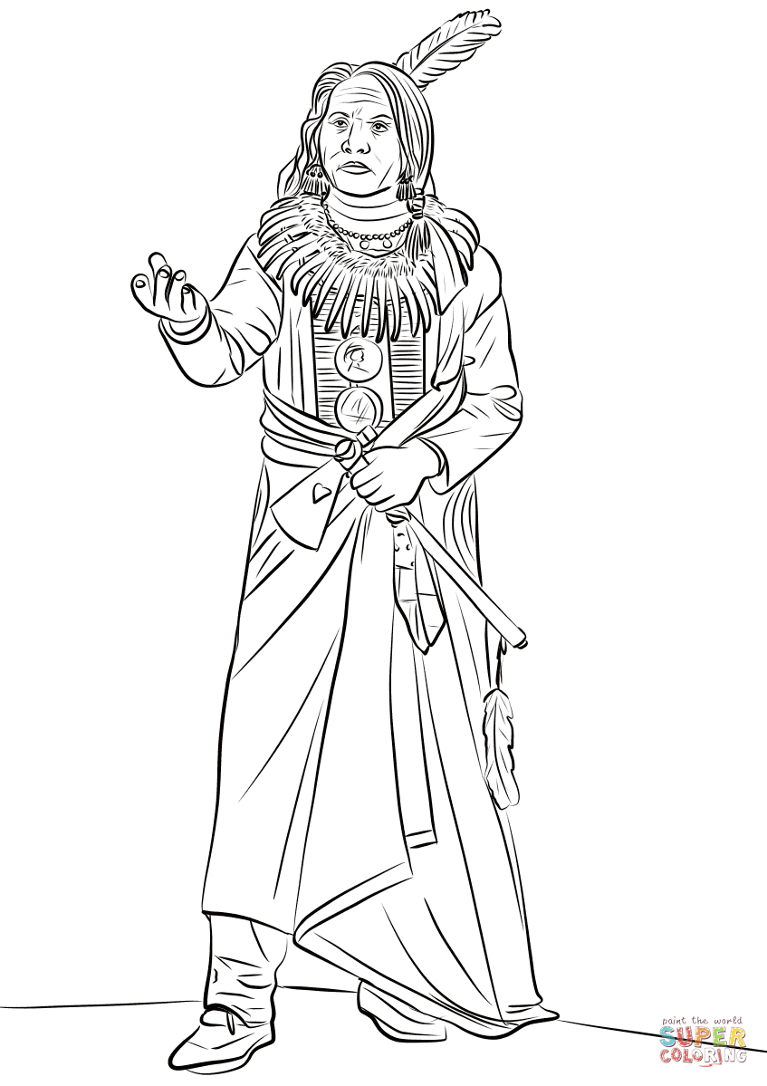 Standing Bear Ponca Chief Coloring Page