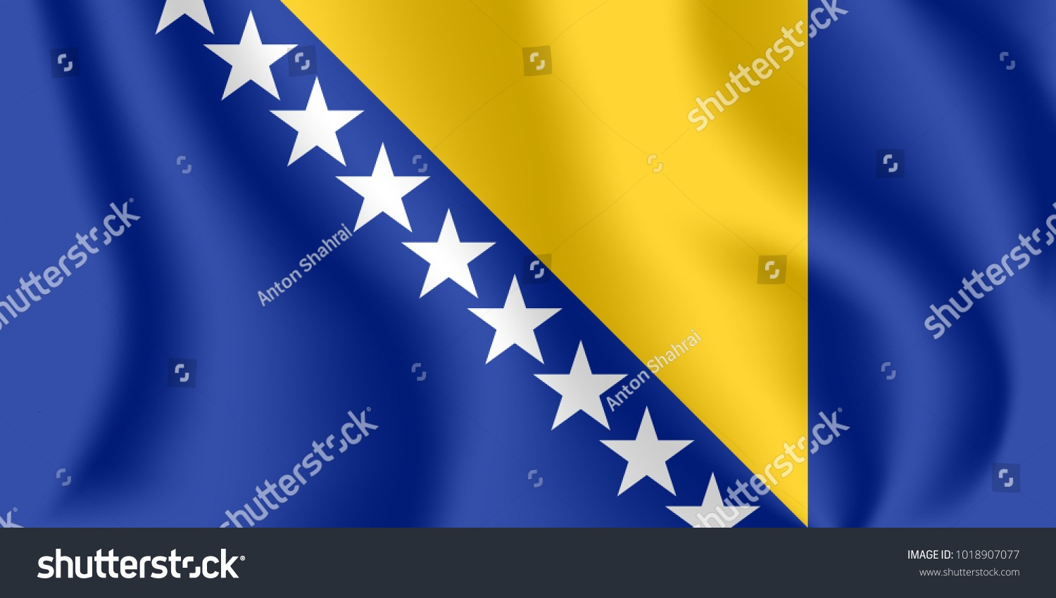 Flag Bosnia Herzegovina Realistic Waving Flag Stock Vector