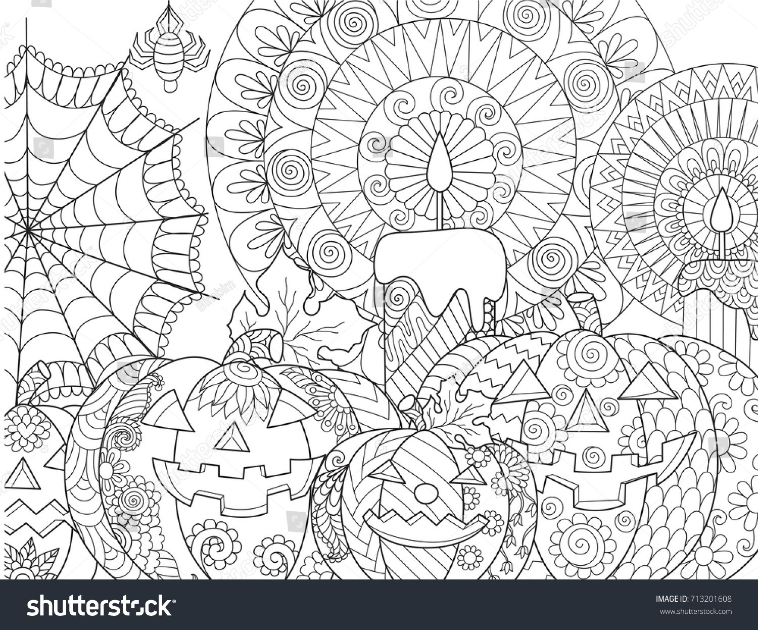 Halloween Pumpkincandlesspidercobweb Adult Coloring Book Page
