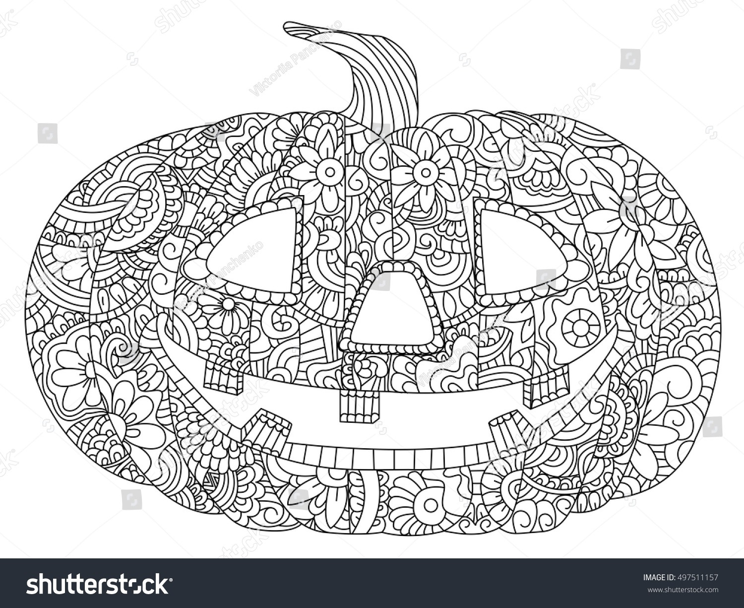 Pumpkin Halloween Coloring Book Vector Illustration Stock Vector