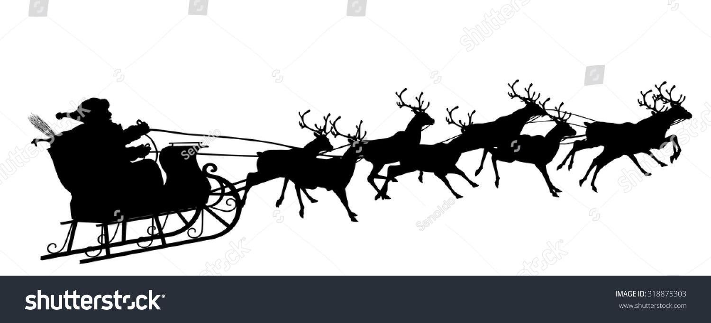 Santa Claus Reindeer Sleigh Black Silhouette Stock Vector (royalty