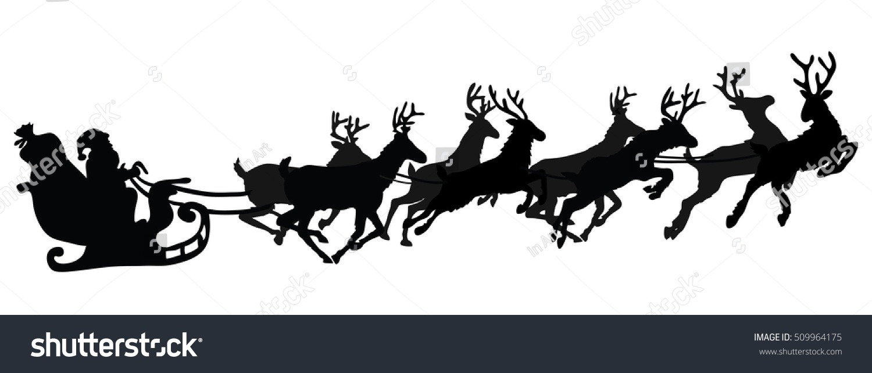 Santa Flying Sleigh Reindeer Vector Illustration Stock Vector