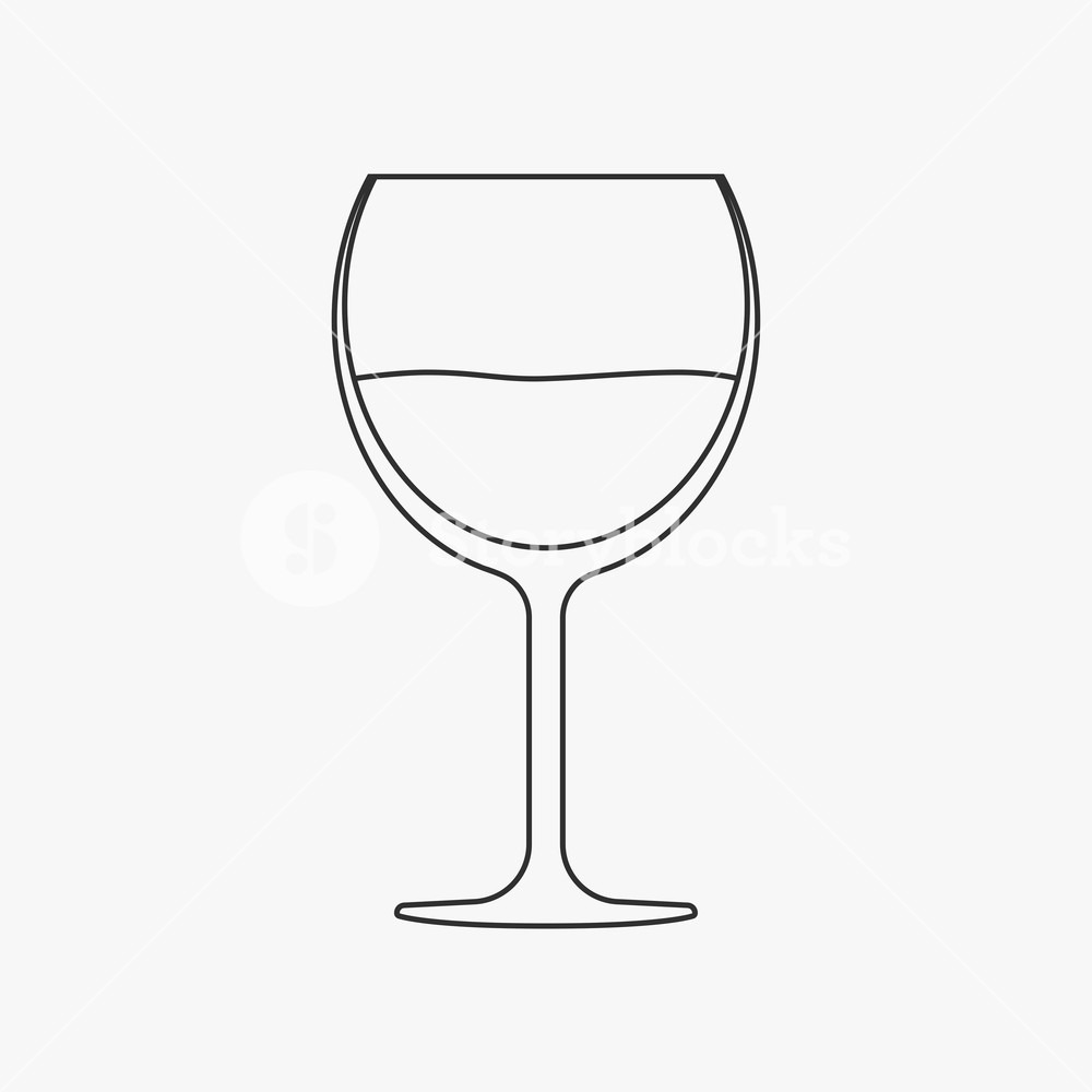Wine Glass Flat Black Outline Design Icon  Royalty