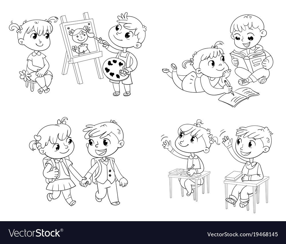 Students Put Hand Up In Class Room Coloring Book Vector Image
