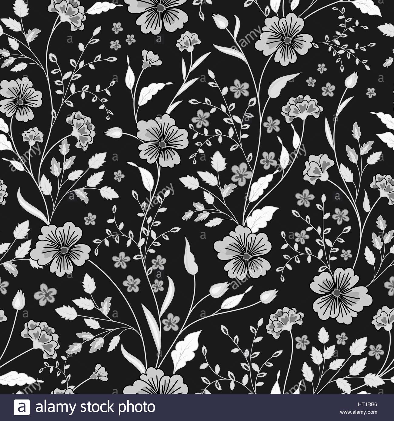 Floral Print Black And White Stock Photos & Images