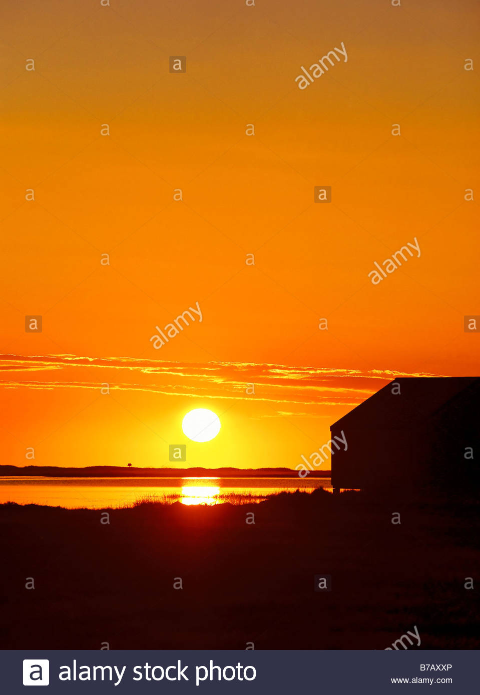 Sunrise Over Salt Pond With Boathouse Silhouette Eastham Cape Cod