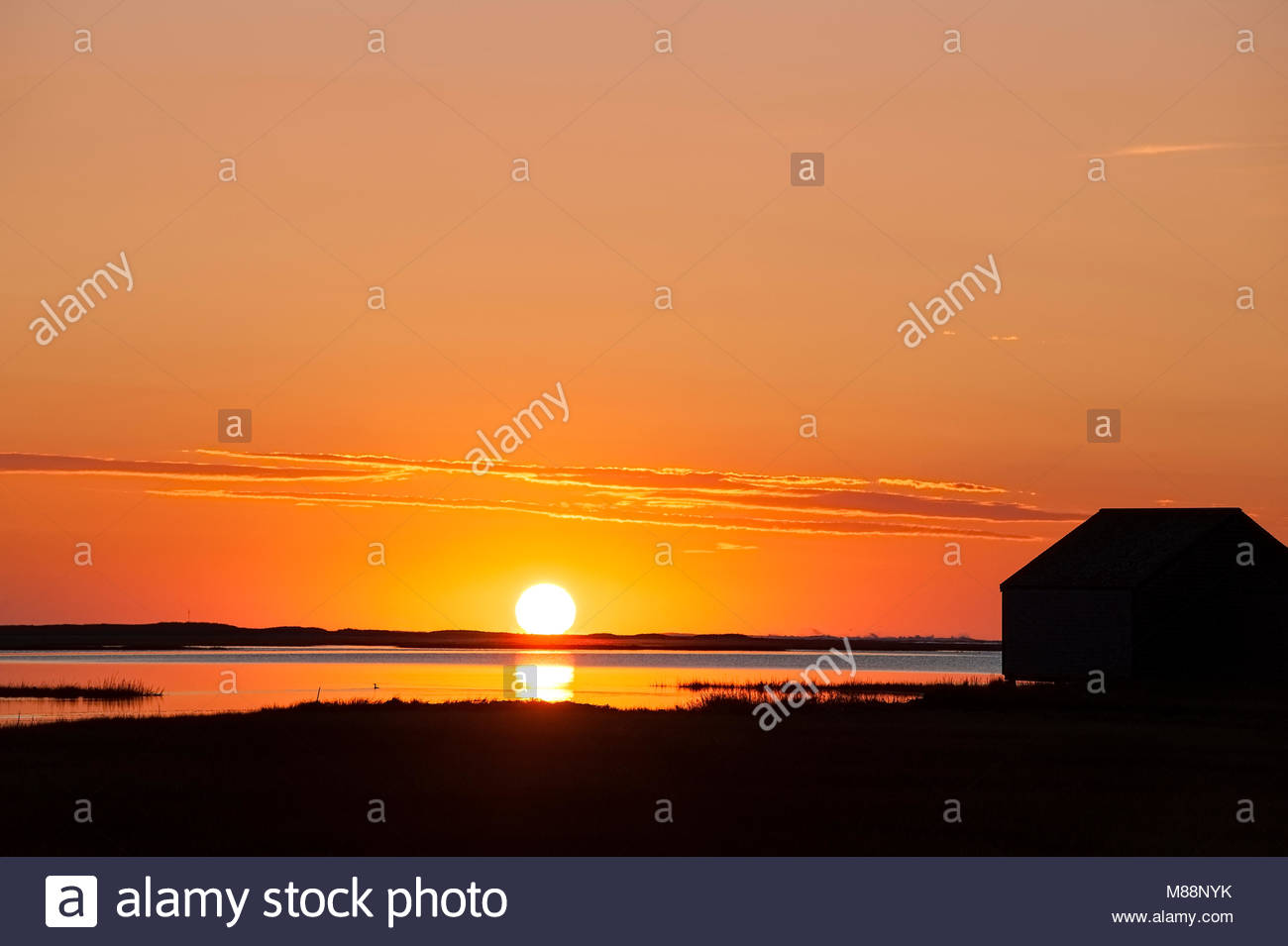 Sunrise Over Salt Pond With Boathouse Silhouette, Eastham, Cape