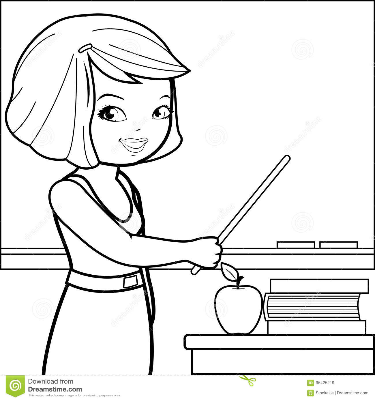 Teacher Teaching At Class  Coloring Book Page  Stock Vector