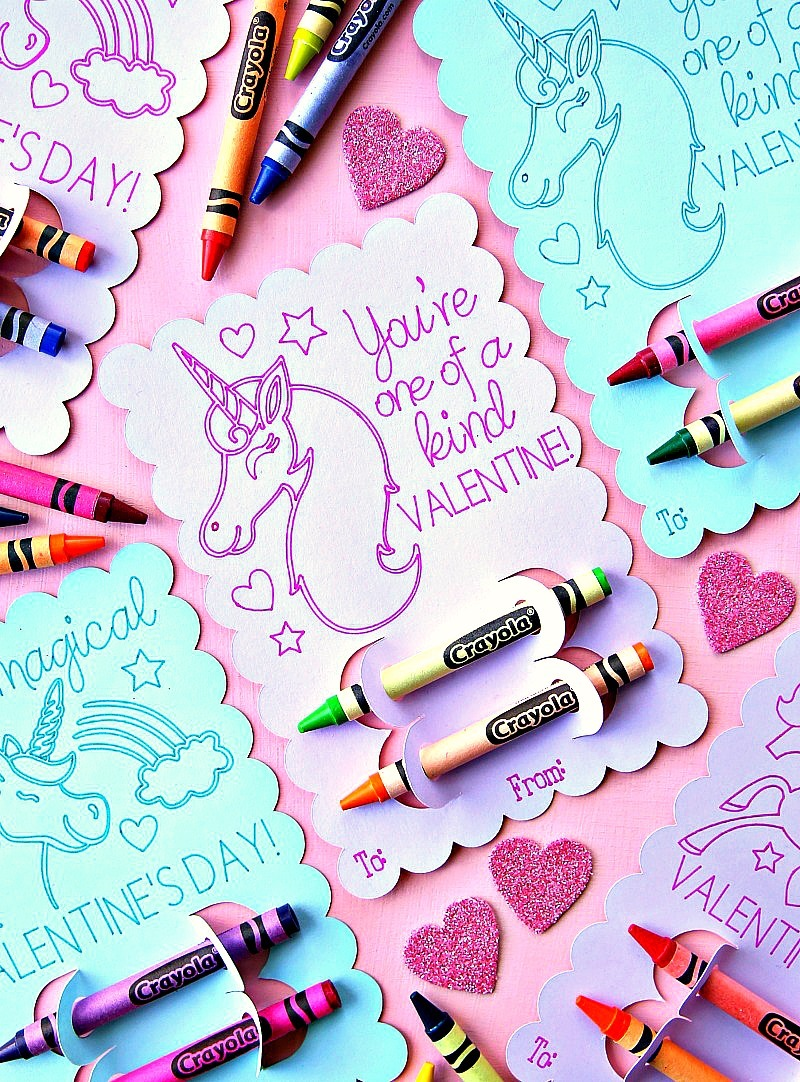 Unicorn Valentine's Day Coloring Cards