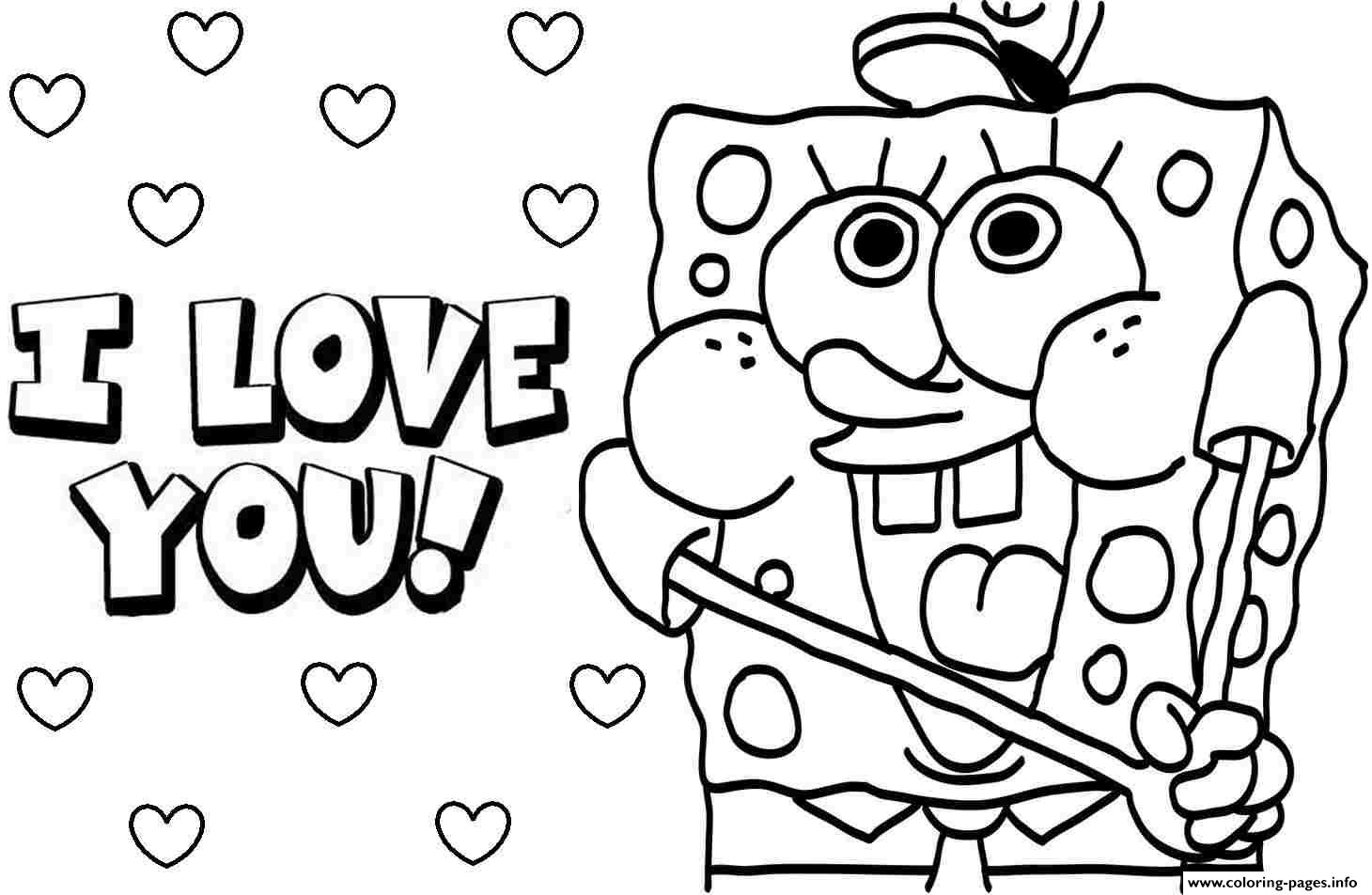 Coloring Page ~ Valentines Colorings Sponge Bob I Love You