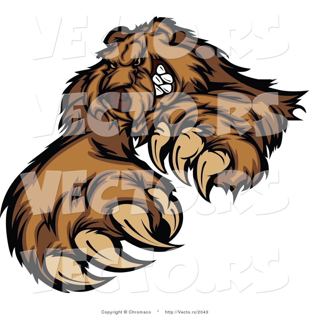 Vector Of A Brown Bear Stiking With Claws While Grinning