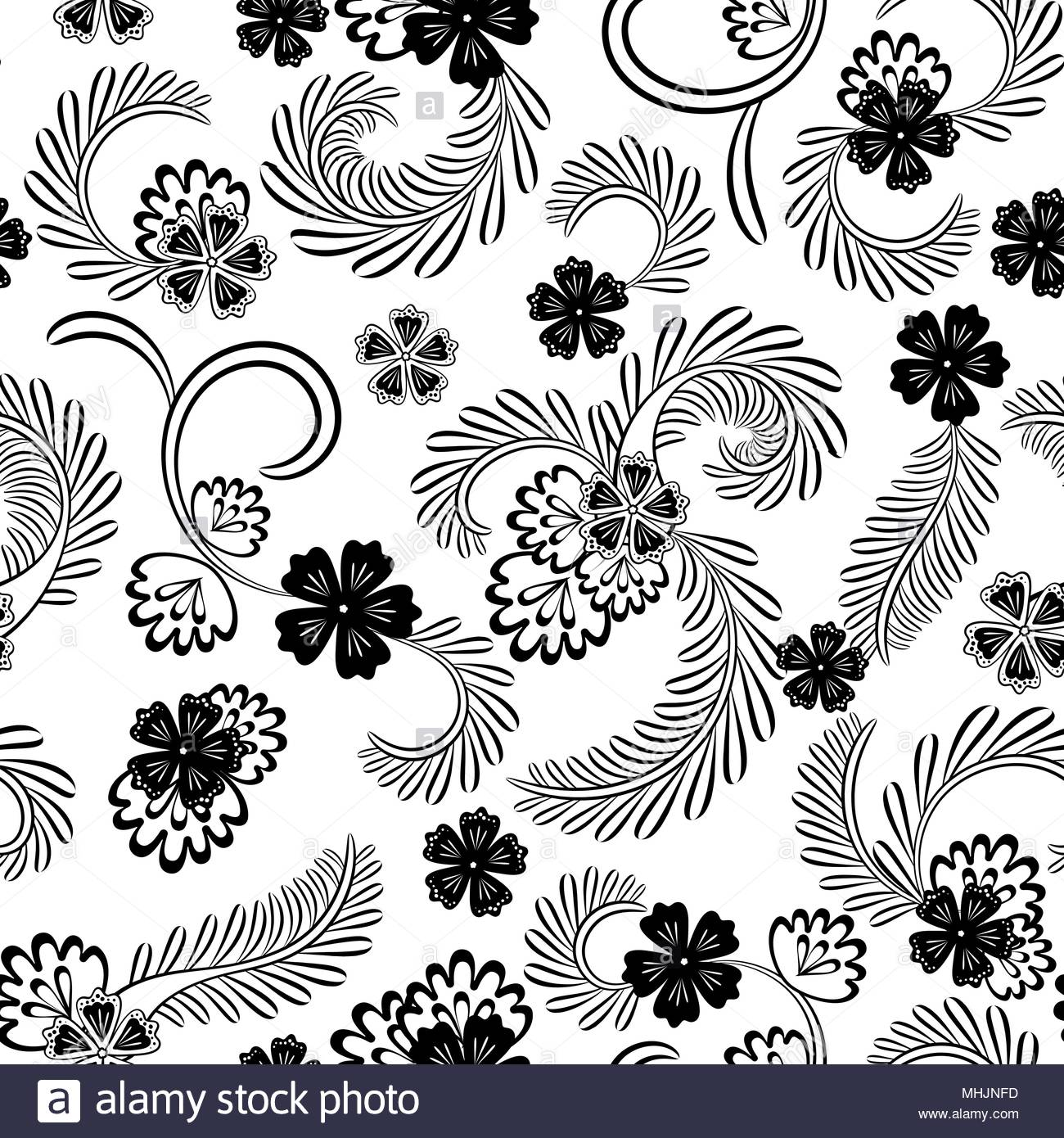 Vintage Seamless Black And White Floral Pattern On A Black