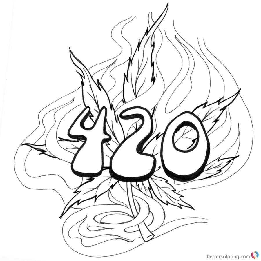 Weed Coloring Pages Tattoo 4 20 Coloring Sheets