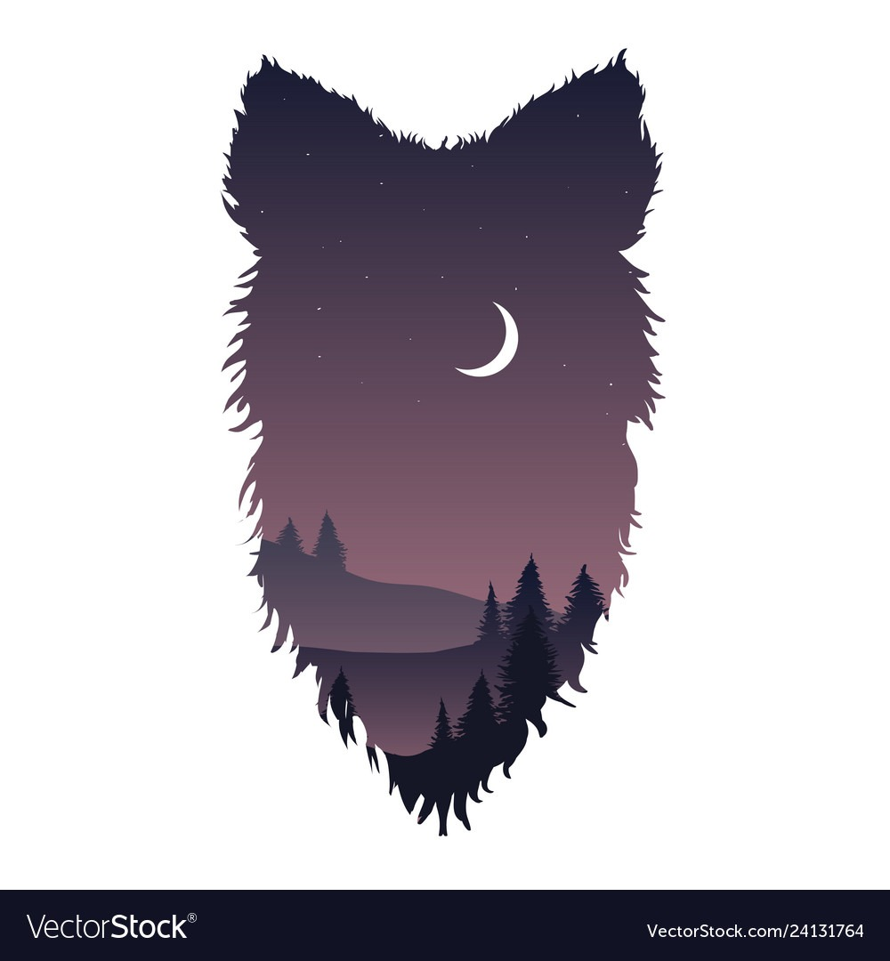 Wild Wolf Head Silhouette Royalty Free Vector Image