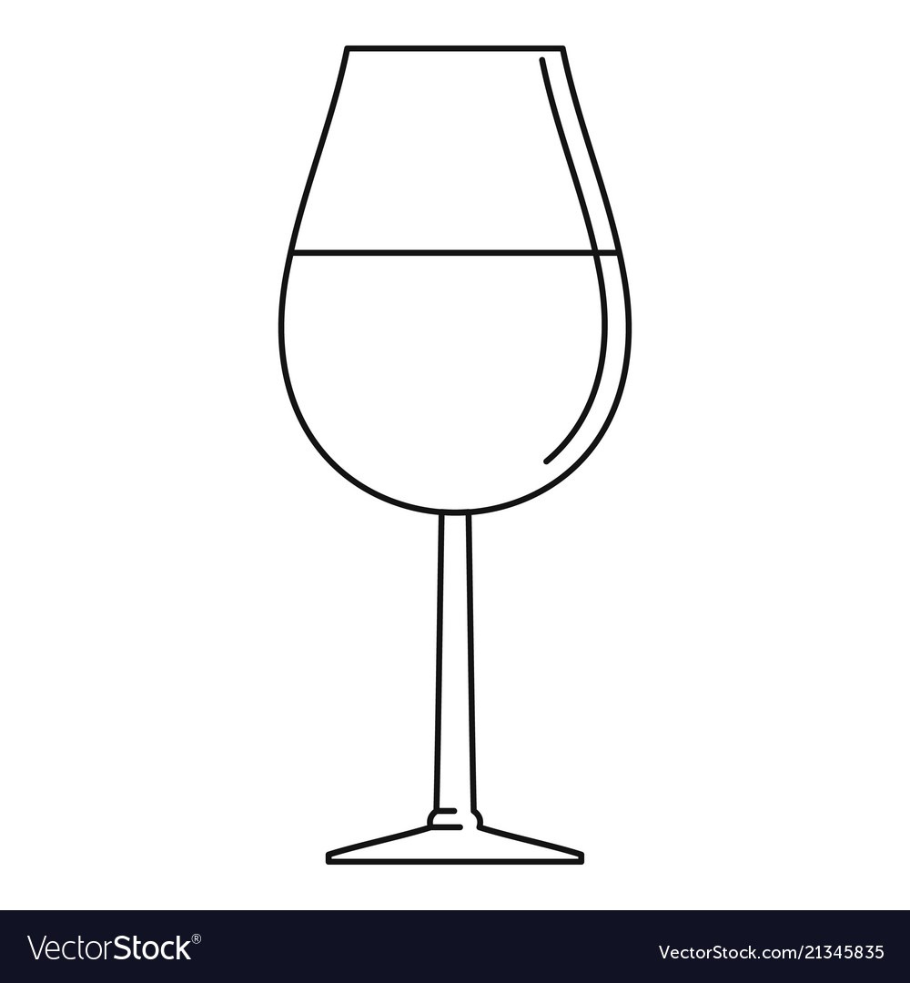 Wine Glass Icon Outline Style Royalty Free Vector Image