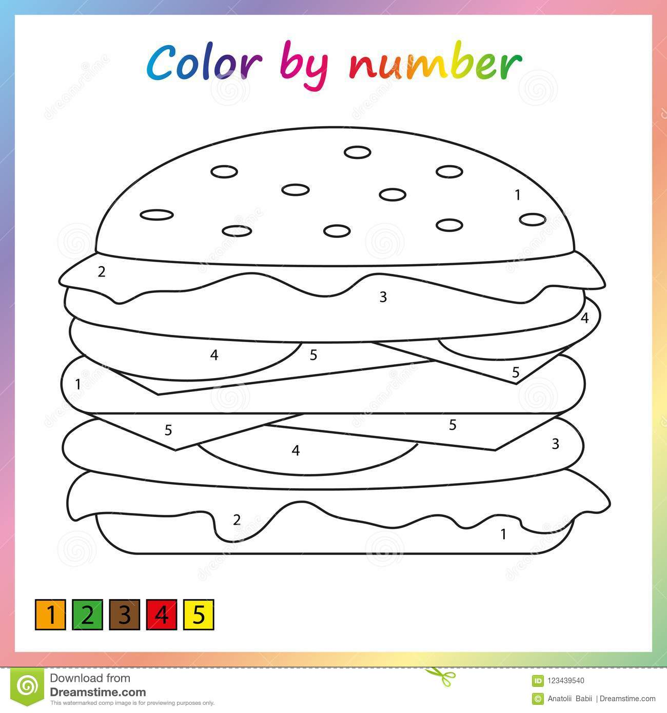 Worksheet For Education  Painting Page, Color By Numbers  Game For