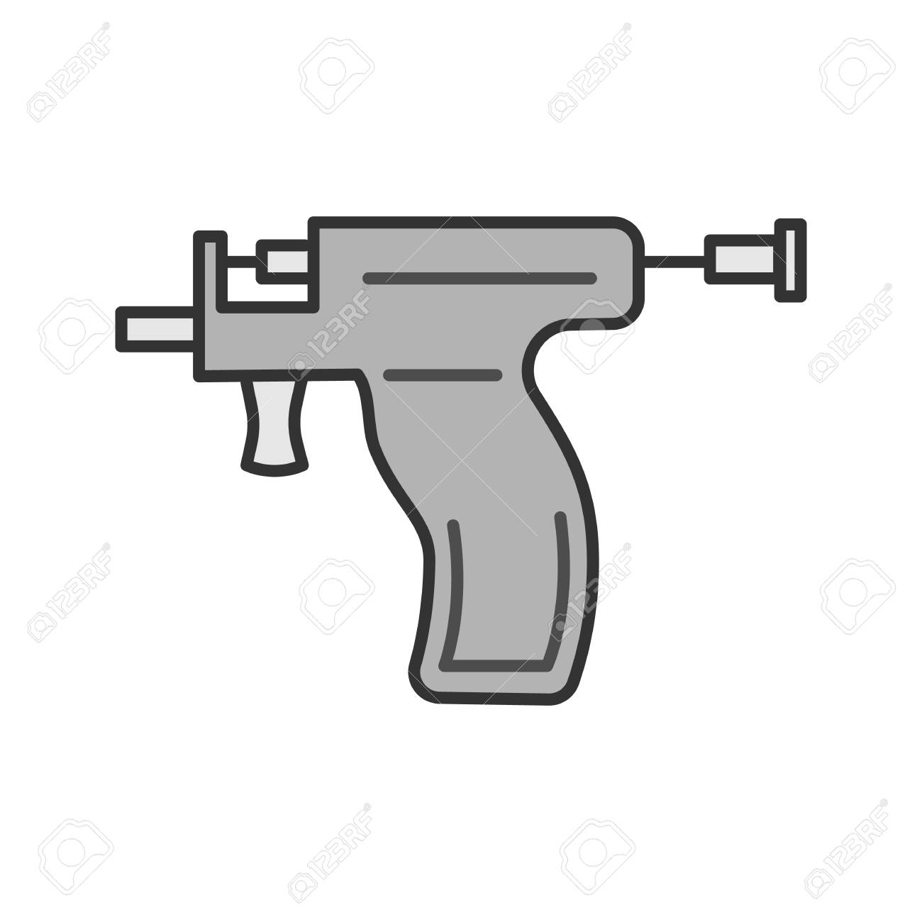 Piercing Gun Color Icon  Ear Piercing Instrument  Isolated Vector