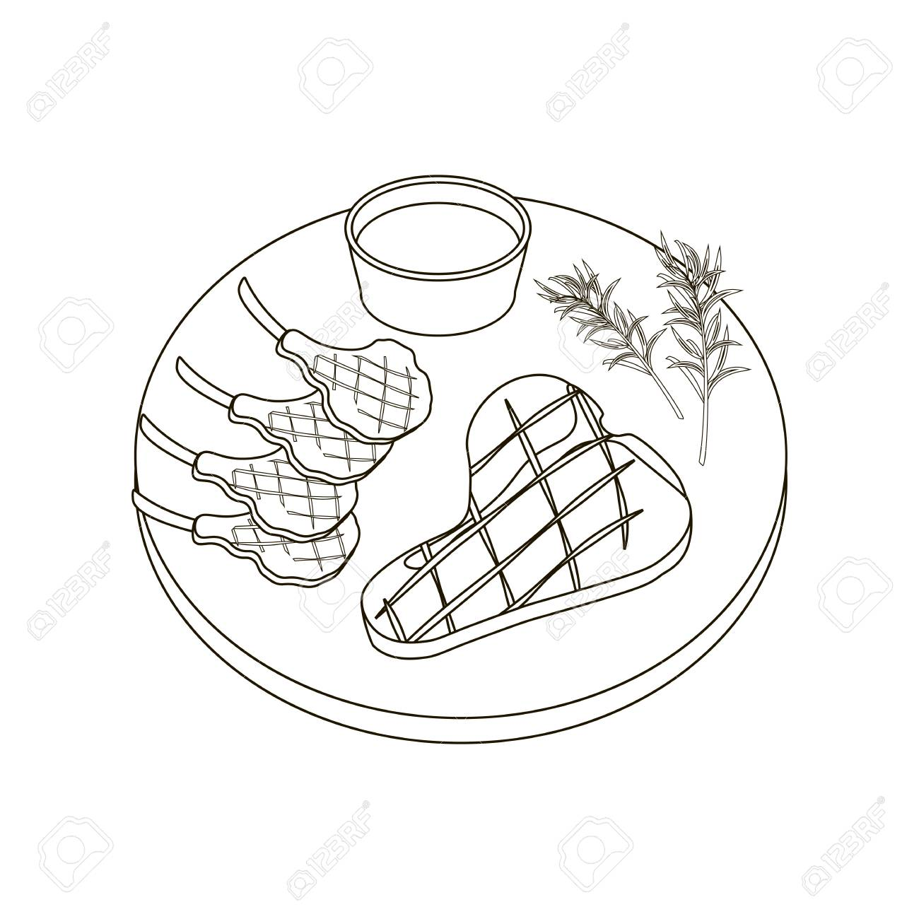 Steak Meat Coloring Pages On The White Background, Vector