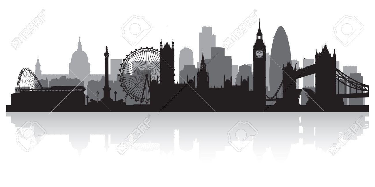 London City Skyline Silhouette Vector Illustration Royalty Free