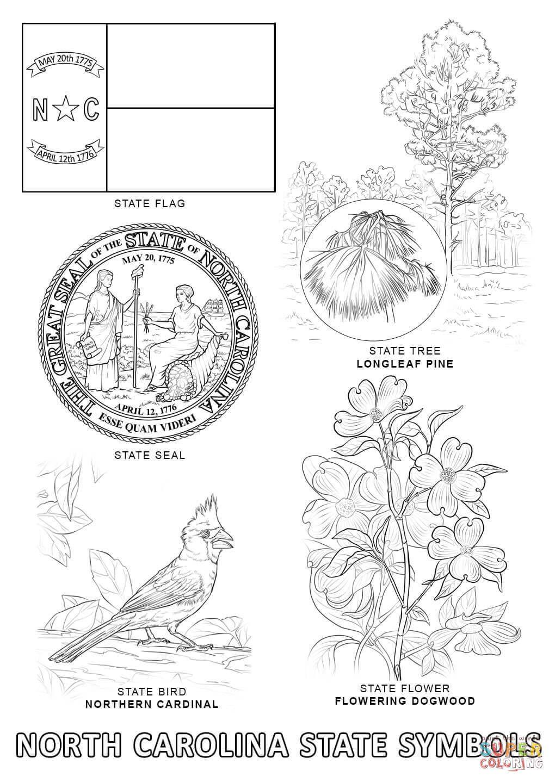 North Carolina State Symbols Coloring Page