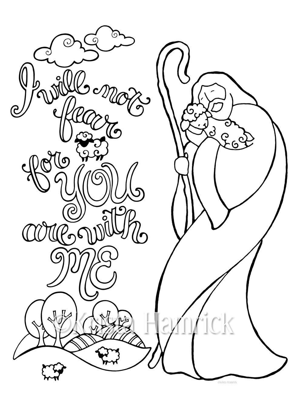 Good Shepherd Coloring Page In Two Sizes  8 5x11 And Bible