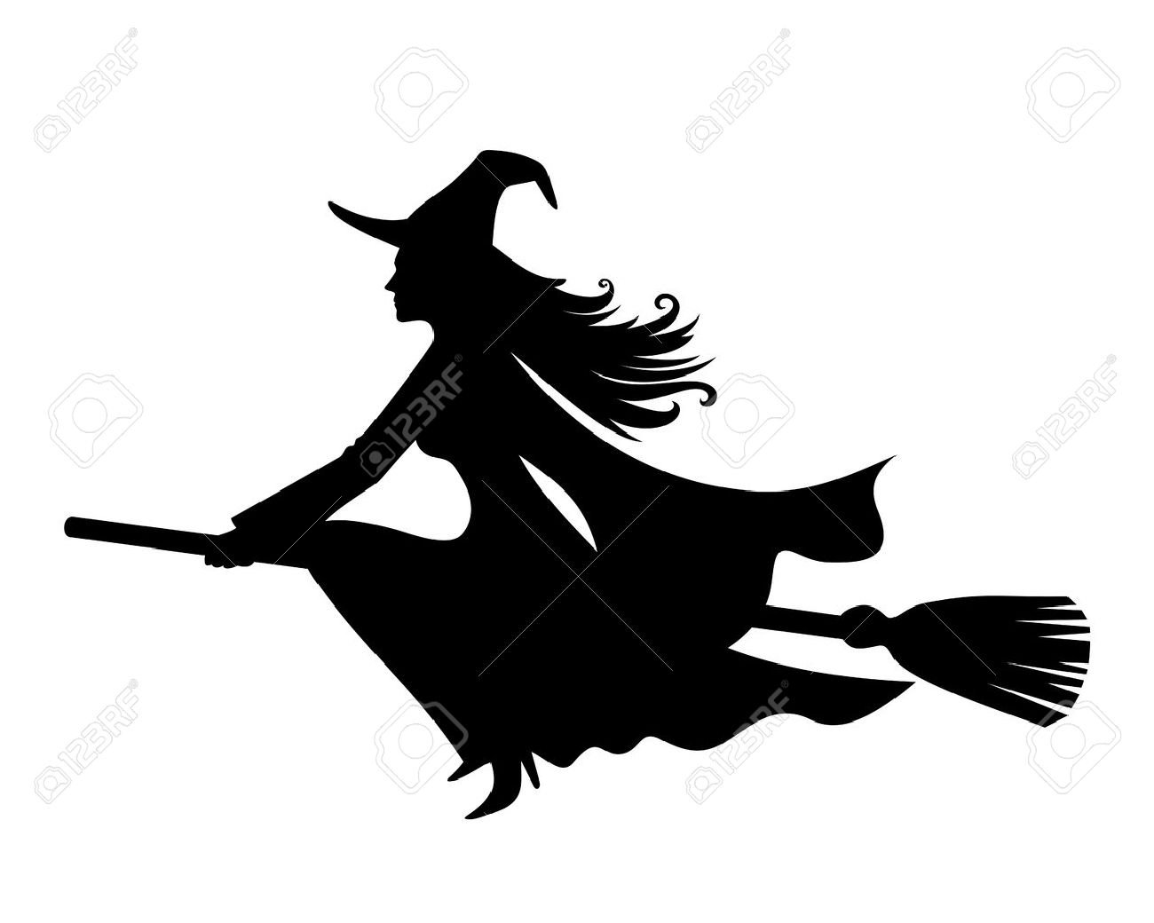 Witch On A Broomstick  Vector Black Silhouette  Royalty Free