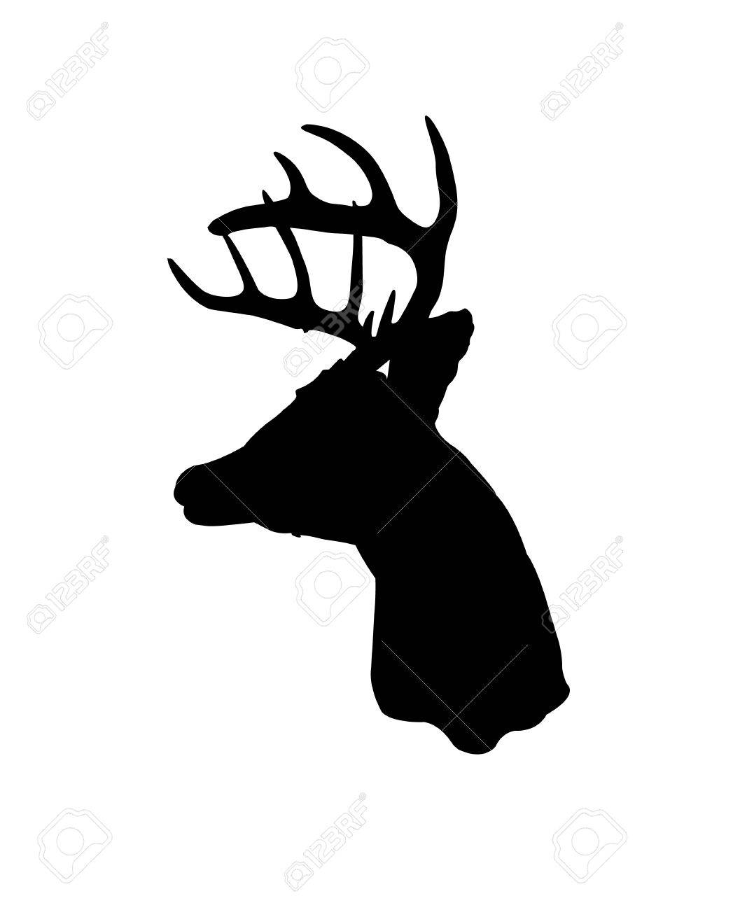 Black Silhouette Of A Whitetail Deer Clip Art Royalty Free