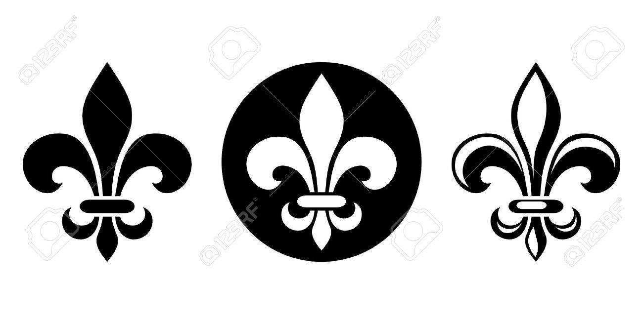 Vector Set Of Three Black Silhouettes Of Lily Flowers Fleur