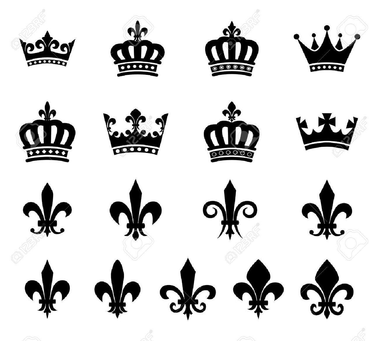 Set Of Crown And Fleur De Lis Design Elements